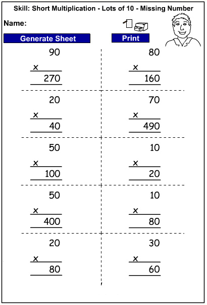 Drill - Short multiplication of lots of 10 - missing number (Auto-generated)