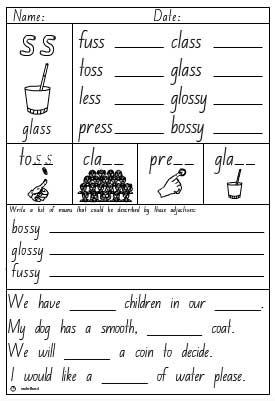 Double Consonant 'ss' Activity Sheet