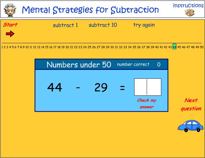 Mental Strategies - Subtraction of numbers under 50