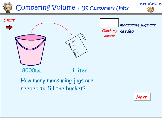 Comparing volume - pints, quarts and gallons
