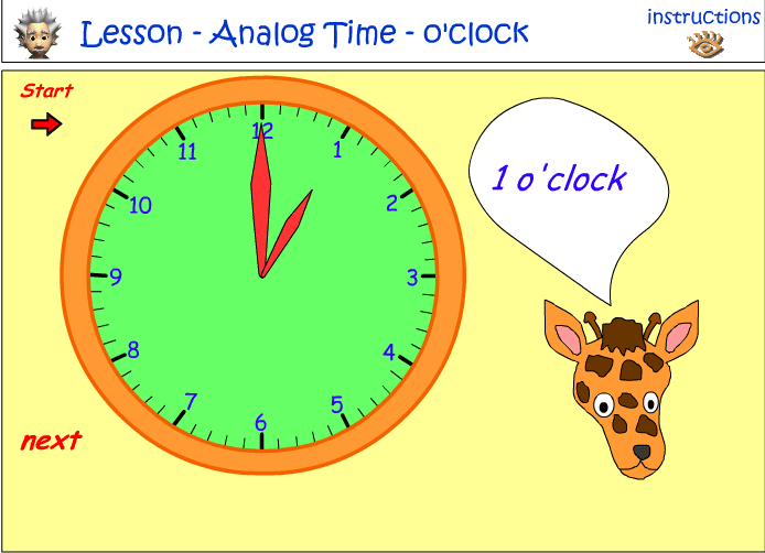Reading an analog clock - o'clock - part 1