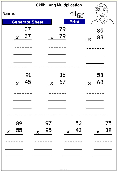 Drill - long multiplication - written strategies (Auto-generated)
