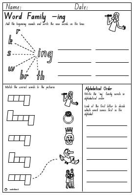 Word Family 'ing' Activity Sheet - Studyladder Interactive Learning ...