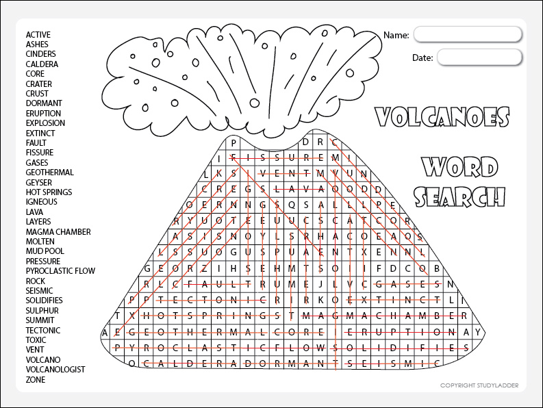 Volcanoes Vocabulary Word Search Answers - Studyladder