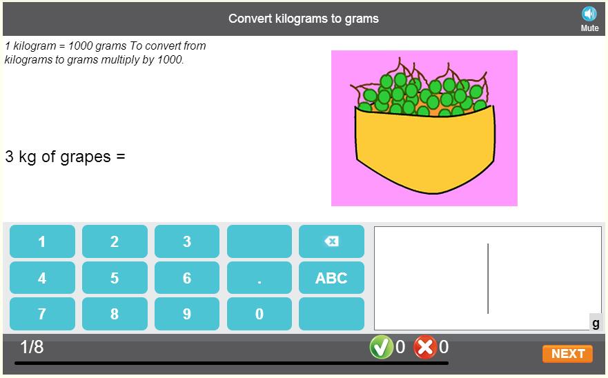 Convert kilograms to grams