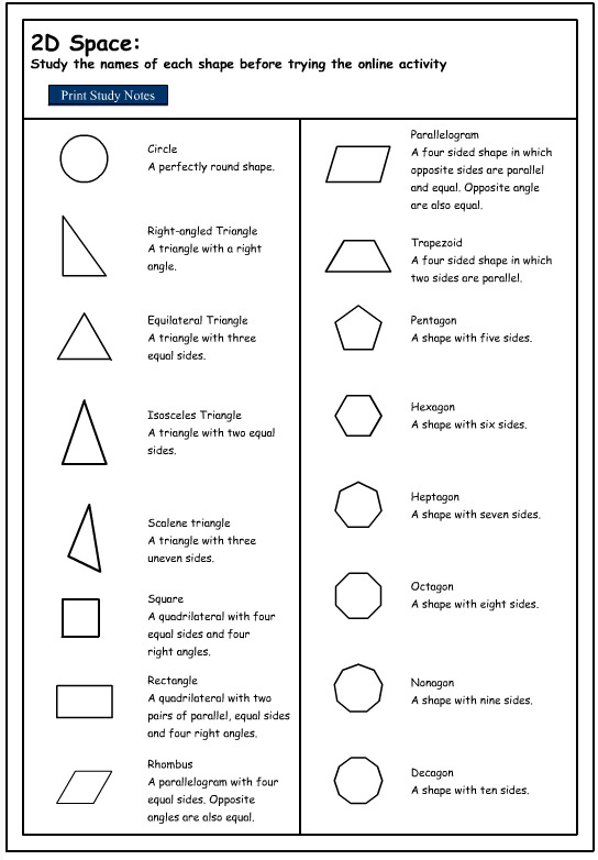 Worksheets Shapes Names studying the names of 2d shapes mathematics skills online interactive activity lessons