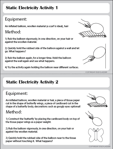 Static Electricity Experiments 1-2 - Studyladder Interactive