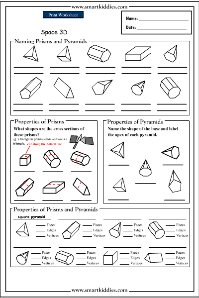 Naming prisms and pyramids, Mathematics skills online, interactive ...