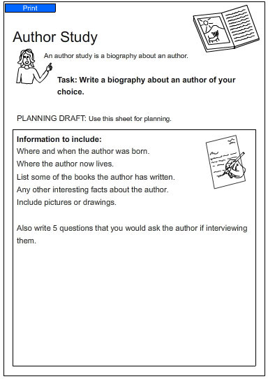 Author Study, English skills online, interactive activity lessons