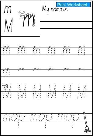 Letter m M -Handwriting Practice Sheet, English skills online ...