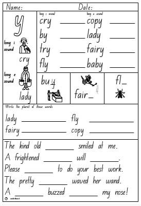 Y as a vowel Activity Sheet