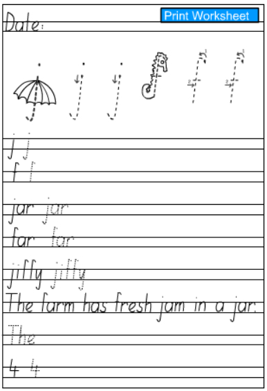 Letters j and f -Handwriting Practice Sheet, English skills online ...
