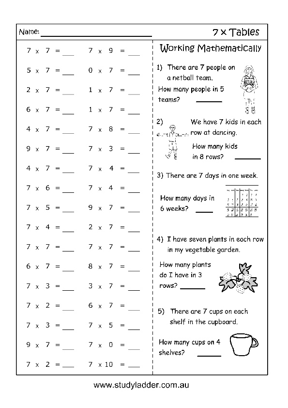 Multiplication worksheets 7x professor pete s classroom for 13 times table tricks
