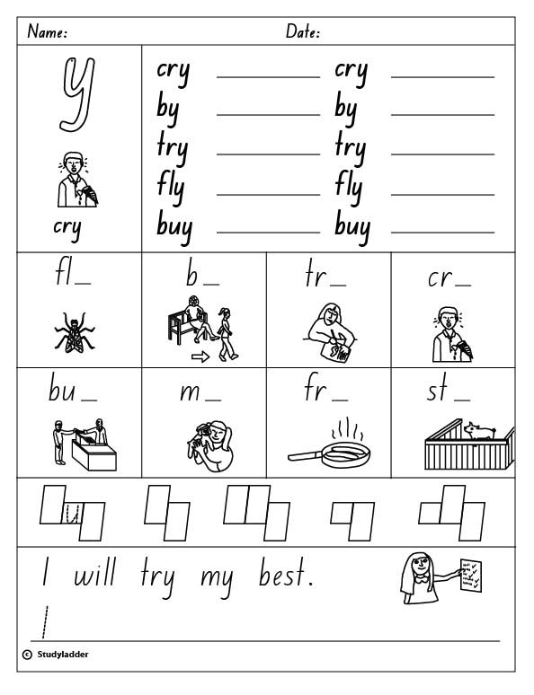 Y as a vowel long i sound English skills online interactive – Y As a Vowel Worksheets