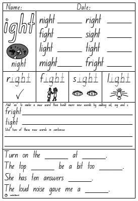 Word Family- ight Activity Sheet