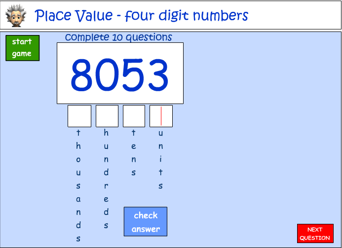 Place value - four digit numbers