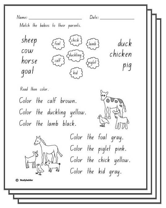 Baby Farm Animals Response Activity Sheets English Skills Online Interactive Lessons